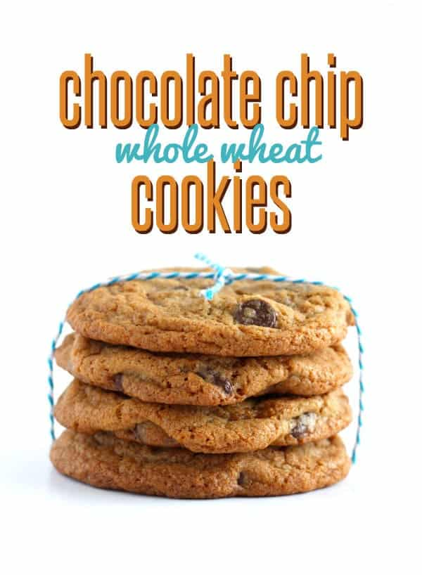 "Stack of four cookies, tied with blue and white twine, on white background. Text overlay reads ""chocolate chip whole wheat cookies."""