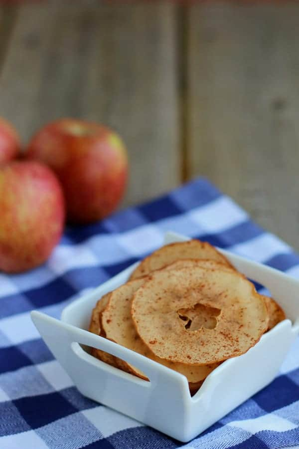 These Baked apple chips are a great snack! Most aside potato chips, you have some healthy competition! Get the easy recipe on RachelCooks.com!