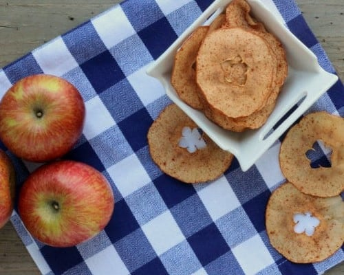 Overhead view of crispy apple chips on a blue and white cloth.