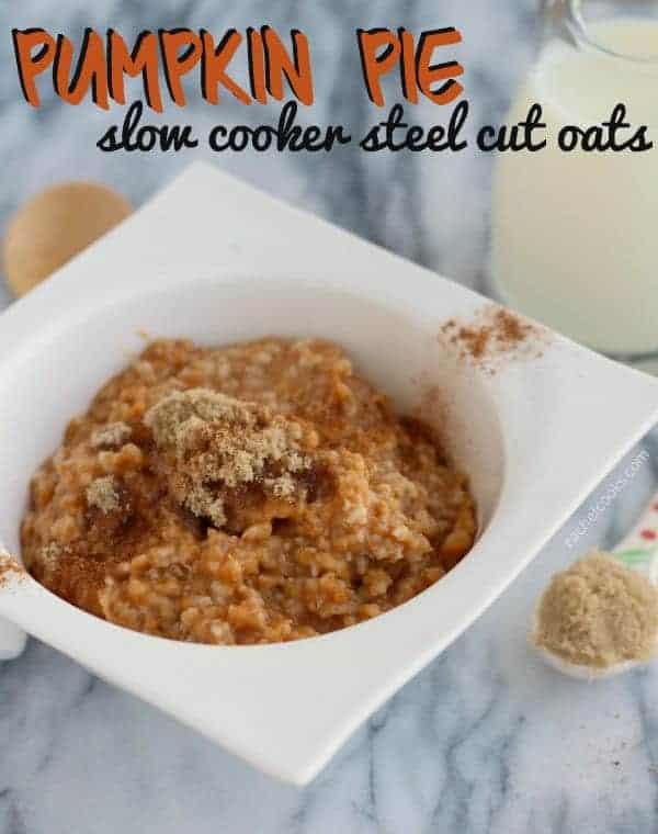 Pumpkin Pie Slow Cooker Steel Cut Oats | RachelCooks.com