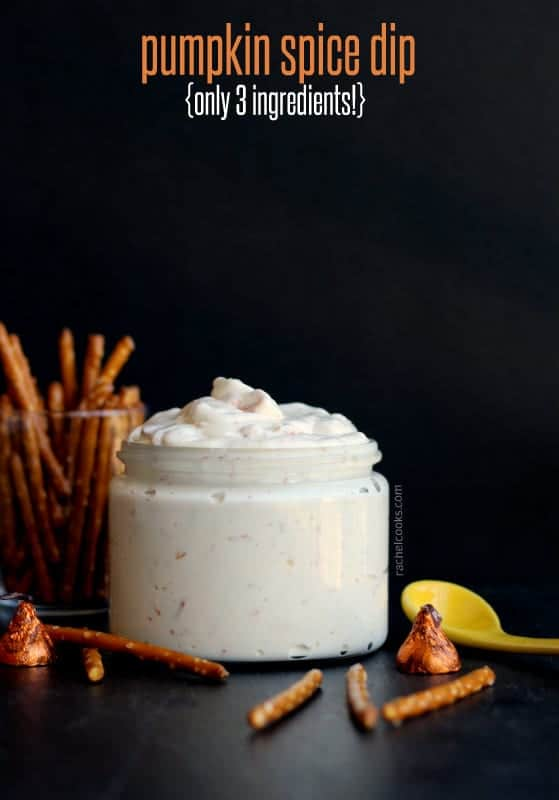 This pumpkin spice dip is so easy to prepare -- only three ingredients! Perfect for your next party. Get the easy recipe on RachelCooks.com!