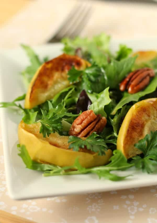 Soft and sweet broiled apples make this salad perfect for fall. Easy to prepare and a very impressive presentation. Perfect for dinner guests or Monday night dinner with your family. Get the easy recipe on RachelCooks.com!