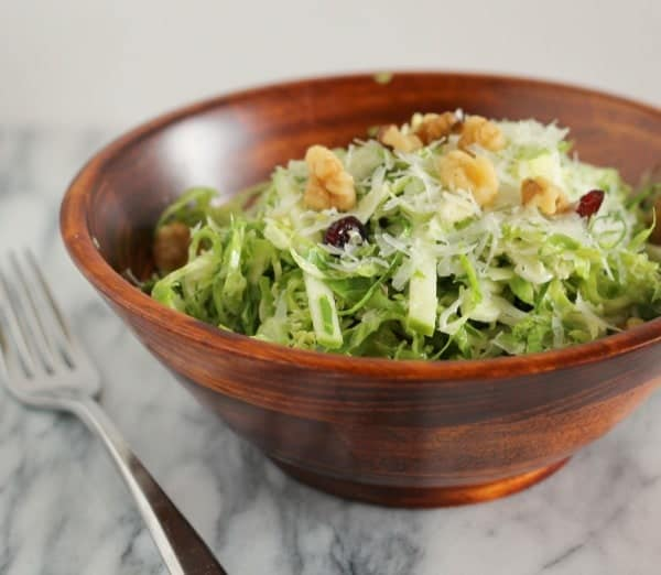 Shaved Brussels Sprouts Salad with Green Apples and Cranberries from RachelCooks.com