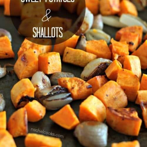 Maple Mustard Roasted Sweet Potatoes and Shallots   RachelCooks.com