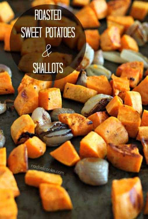 Maple Mustard Roasted Sweet Potatoes and Shallots | RachelCooks.com