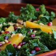 Kale Salad with Pomegranate, Oranges and Pine Nuts on RachelCooks.com