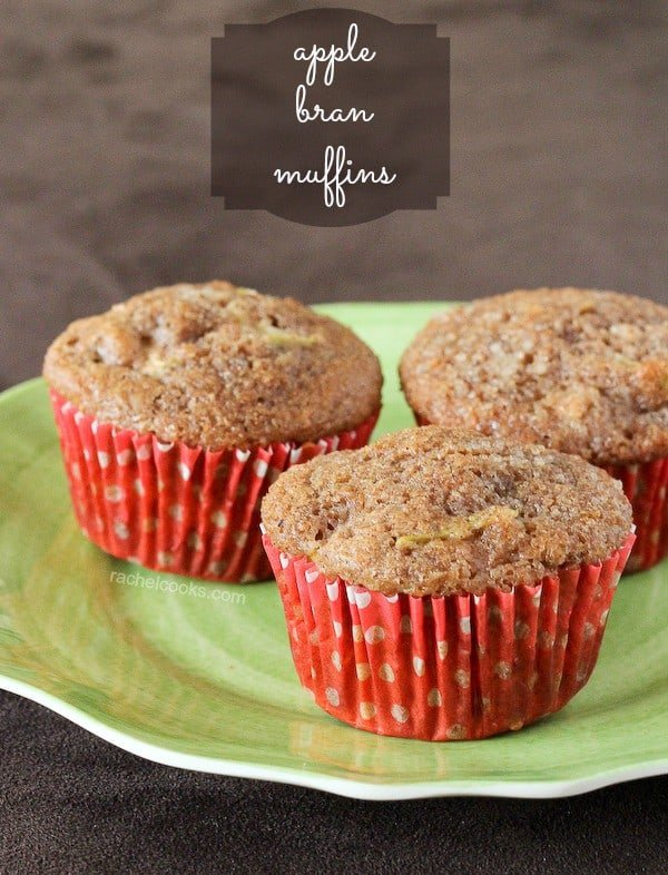 Healthy Apple Bran Muffins -- Make these your breakfast tomorrow! Find the recipe on RachelCooks.com