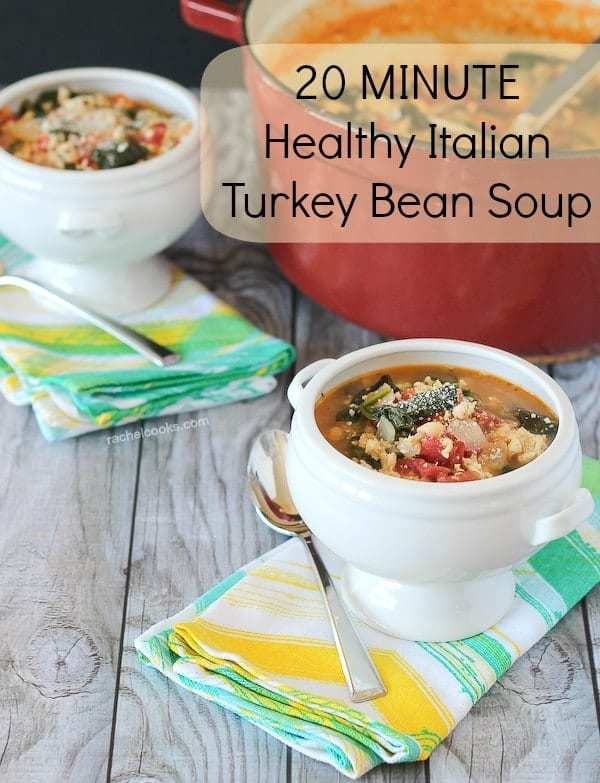 "Two bowls of turkey bean soup on green and yellow striped napkins. Text overlay reads ""20 minute Healthy Italian Turkey Bean Soup."""