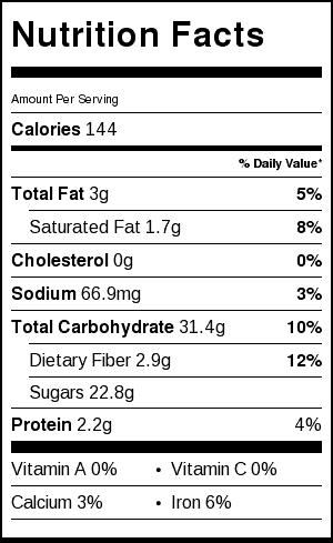 black bean brownie nutrition label