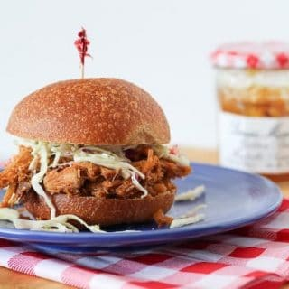 Slow Cooker Pulled Pork with Plum Bourbon BBQ Sauce