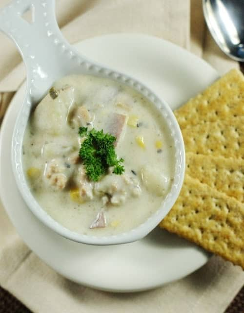 Slow Cooker Clam Chowder from TheKitchenIsMyPlayground.com