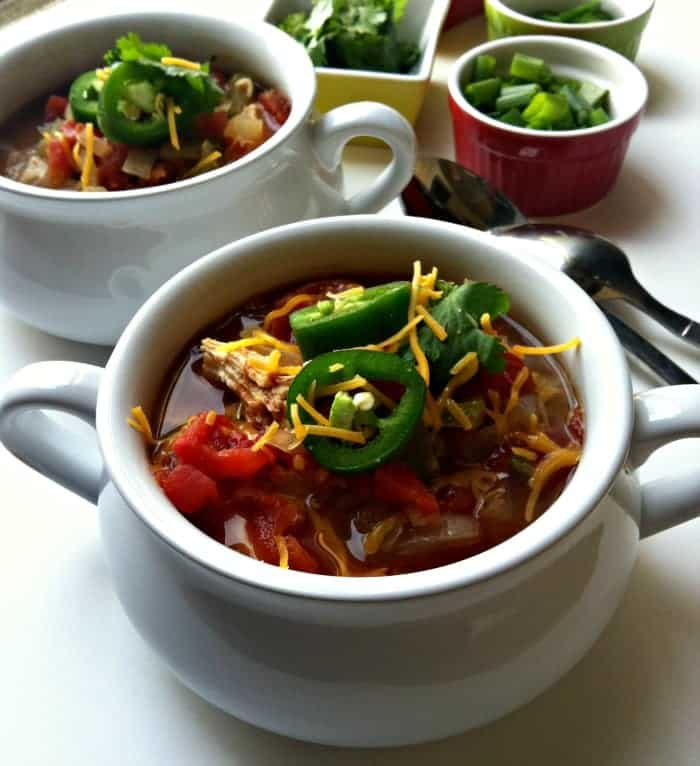 Slow Cooker Chicken Tortilla Soup from ACedarSpoon.com
