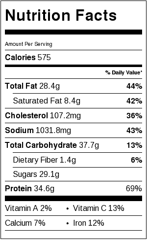 Actual nutrition may vary depending on how recipe is prepared. Nutritional information for pork only and does not include bun or coleslaw.