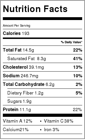 Cauliflower Cheddar Soup recipe nutrition label