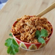 Easy 3 Ingredient Slow Cooker Shredded Chicken For Tacos - on RachelCooks.com!