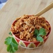 Easy 3 Ingredient Slow Cooker Shredded Chicken For Tacos - on RachelCooks.com!