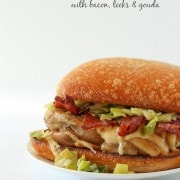 Chicken Burger with Gouda, Bacon and Leeks