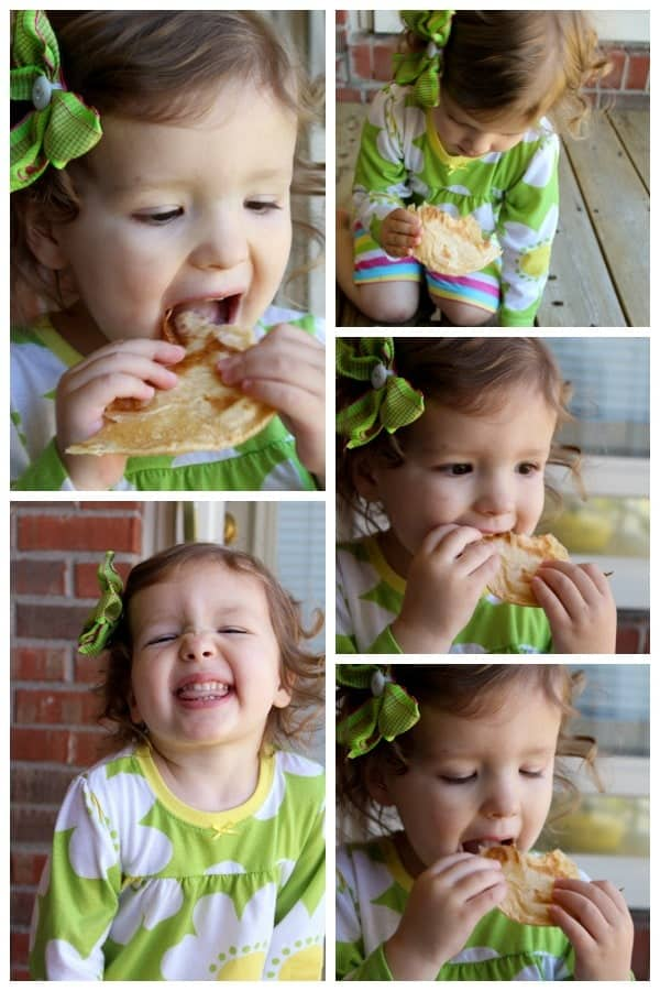 Collage of 5 images of cute little girl eating tortilla and smiling.