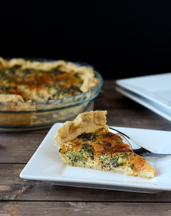 Roasted Broccoli and Sharp Cheddar Quiche Recipe on RachelCooks.com