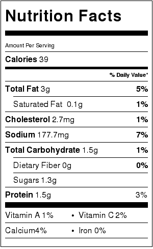 reduced fat ranch dressing nutrition label