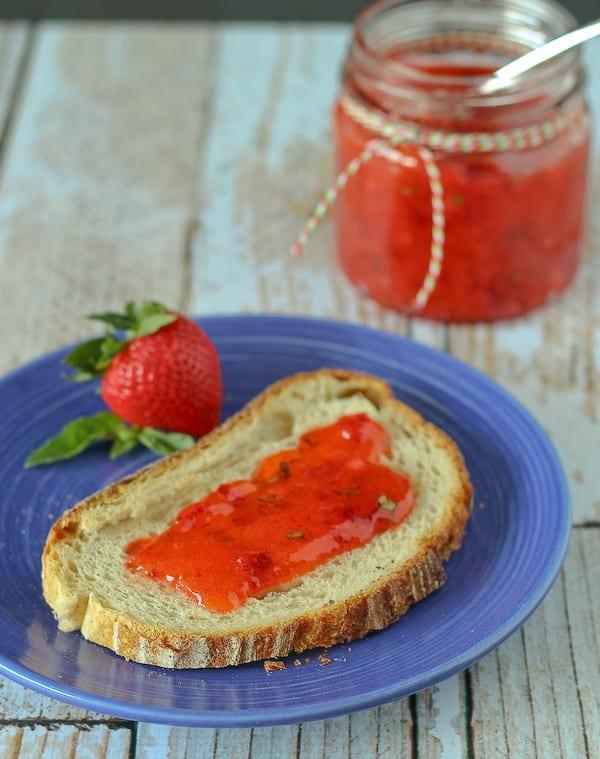 Strawberry Basil Freezer Jam on RachelCooks.com