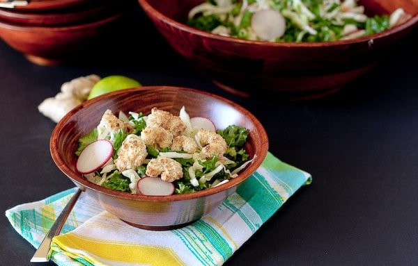 Kale Salad with Popcorn Shrimp and Honey Lime Vinaigrette - RachelCooks.com