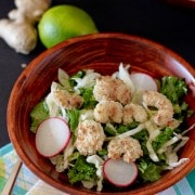 Kale Salad with Popcorn Shrimp and Honey Lime Vinaigrette - RachelCooks.com