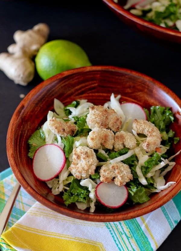 Top view of kale salad.