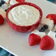 Vanilla Bean Yogurt Dip with Patriotic Fruit Skewers on RachelCooks.com