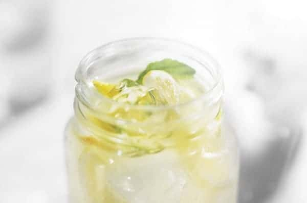 Close up view of clear liquid in a mason jar, garnished with lemon and mint.