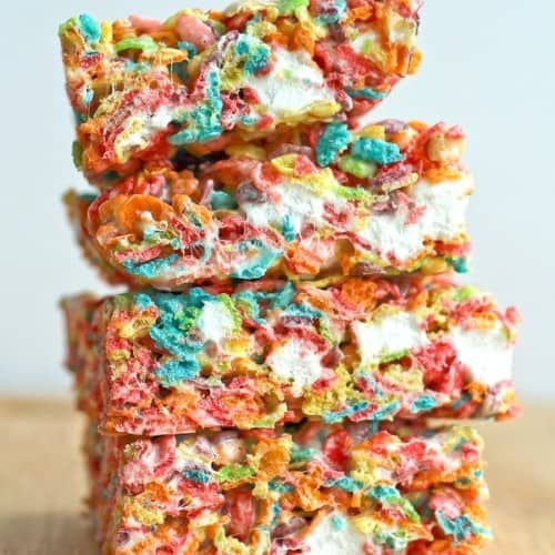 These fun treats are an easy twist on the classic rice crispy treats -- your kids (and adults, too!) will love these fruity pebbles no-bake bars. Get the easy recipe on RachelCooks.com!