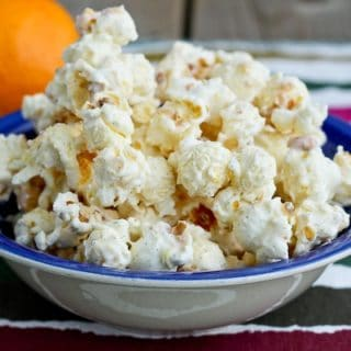 popcorn in shallow blue bowl