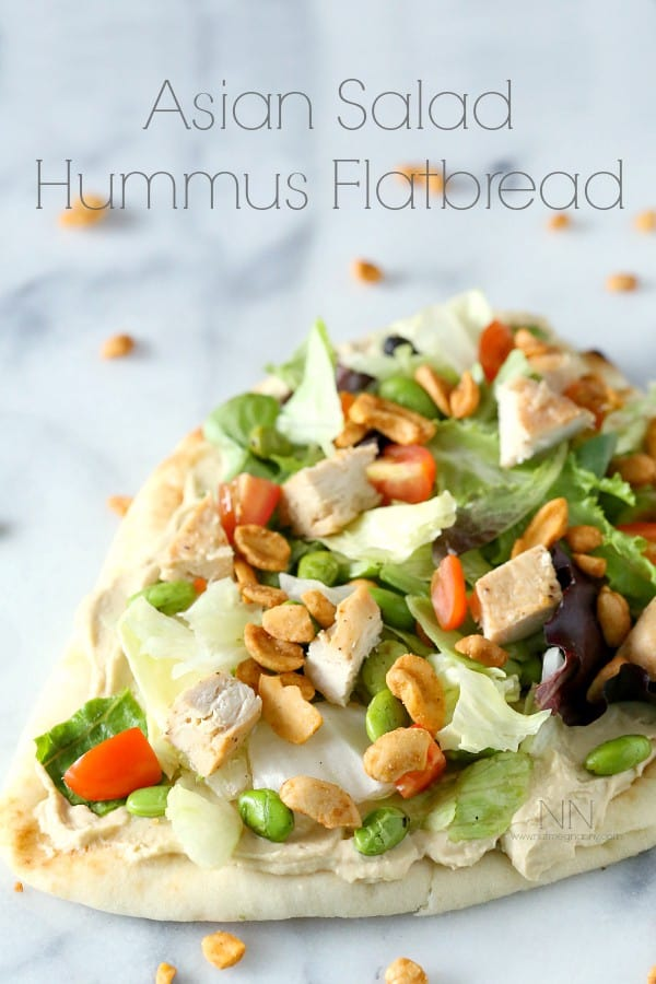 Asian Salad Hummus Flatbread on NutmegNanny.com