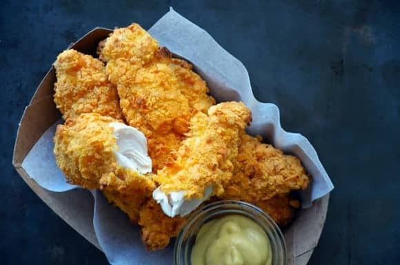 Baked Cheddar Chicken Tenders from JustATaste.com