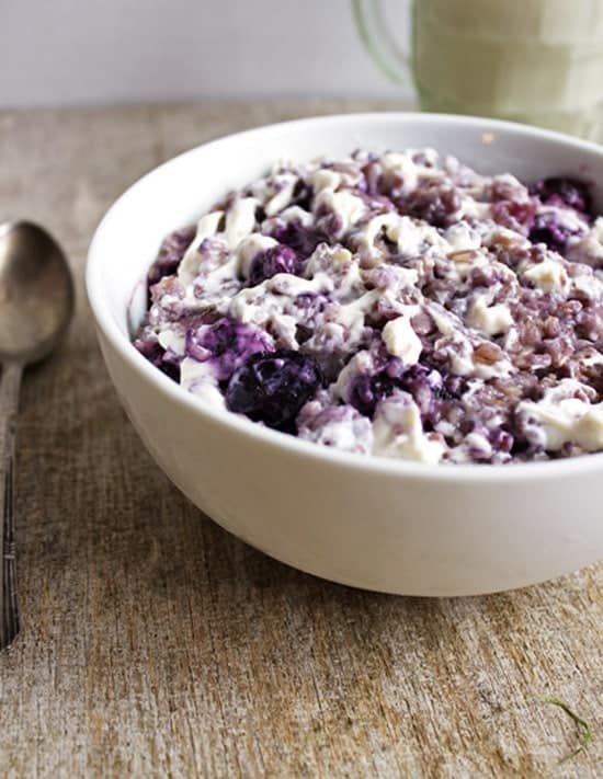 Blueberry Cheesecake Oatmeal from foodfaithfitness.com