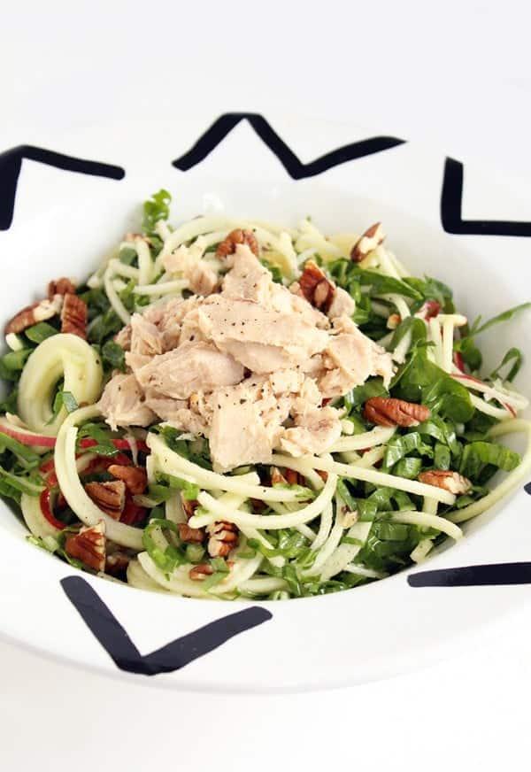 Shredded Chard, Apple and Tuna Salad on Inspiralized.com