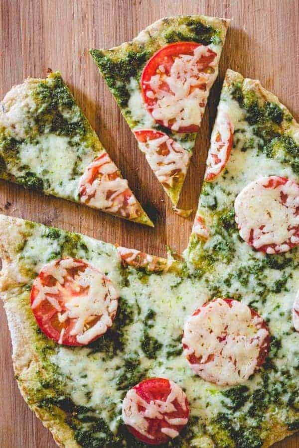 Grilled Pesto and Tomato Pizza - find the recipe on RachelCooks.com