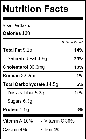 Brownie Mini Trifles Nutrition Label