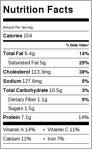 Polenta Quiche Nutrition Label