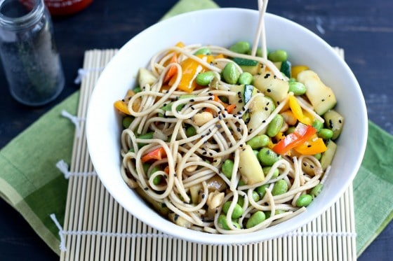Zucchini, Bell Pepper and Edamame Stir-Fry on BakeYourDay.net