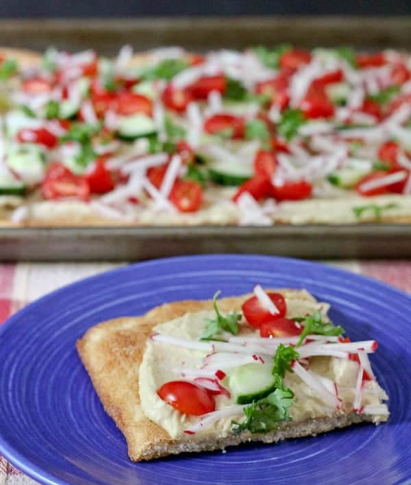 Hummus Flatbread Pizza - a great appetizer or a meal! On RachelCooks.com