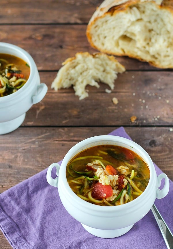 This turkey soup with zucchini noodles comes together in 20 minutes -- it will end up in your weekly rotation. Get the easy and healthy recipe on RachelCooks.com.