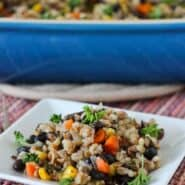 Vegan Barley and Bulgar Casserole - an easy lunch idea! Get it on RachelCooks.com