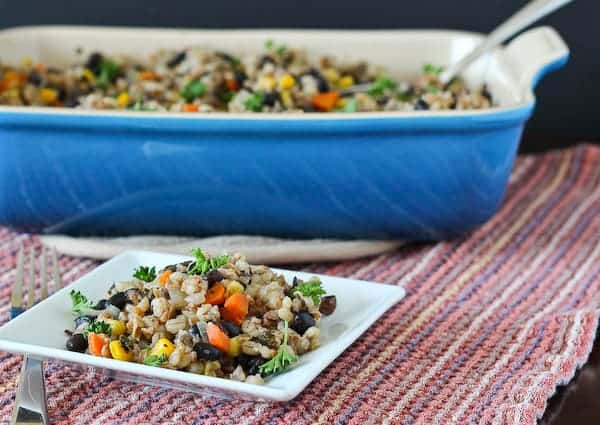Barley and Bulgar Vegan Casserole - an easy lunch idea! Get it on RachelCooks.com