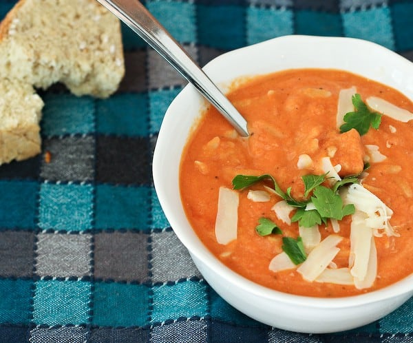 This hearty creamy tomato soup with whole wheat orzo is flavorful ...