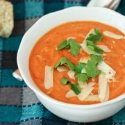 This hearty creamy tomato soup with whole wheat orzo is flavorful, healthy, and easy to make. It's perfect for a chilly fall or winter day! Get the easy recipe on RachelCooks.com!