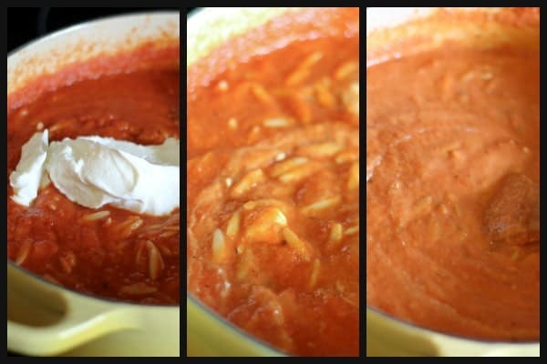 Collage of three pictures of soup in Dutch oven in varying stages.