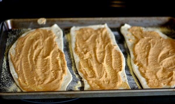Chicken Enchilada Flatbread with a Creamy Enchilada Sauce - on RachelCooks.com