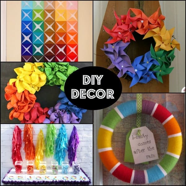 DIY decoration ideas for a fun rainbow themed birthday party! On RachelCooks.com