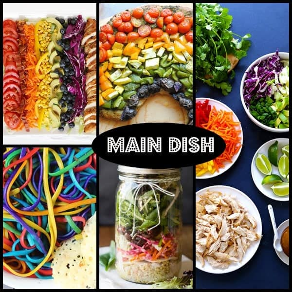 Main Course Food Ideas for a rainbow themed birthday party! Find them on RachelCooks.com